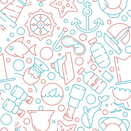 Marine pattern. Sea ocean nautical symbols yacht sailing boat captain fish vector seamless background. Illustration of transport sailboat, seamless pattern with telescope and marine compass Иллюстрация