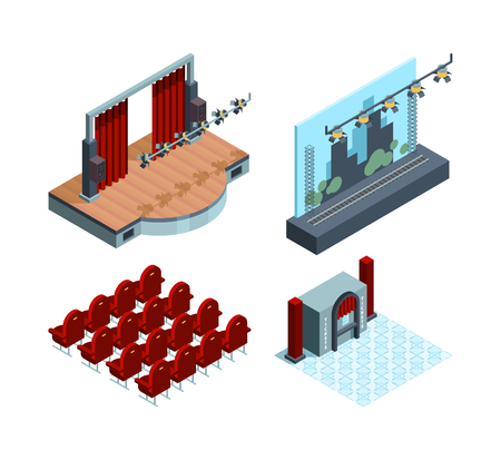 Scène de théâtre isométrique. Collection de vecteurs de siège de théâtre d'acteurs de rideau rouge intérieur de salle de ballet d'opéra. Rideau et scène, intérieur de l'illustration du théâtre de scène Vecteurs