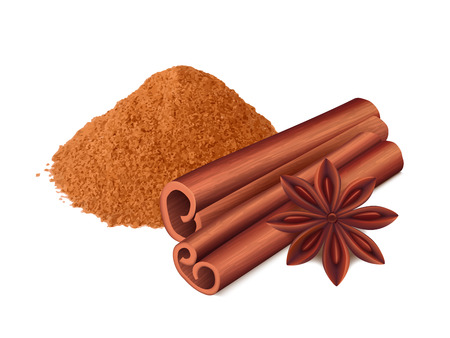 Cinnamon food. Spice sticks and leaf cooking collection aromatic cinnamon vector realistic. Illustration of cinnamon spice, ingredient spicy