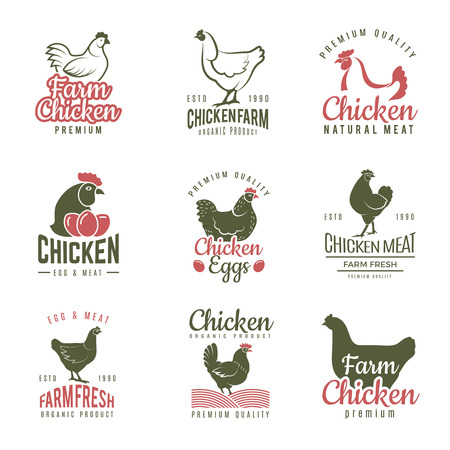 Pollo labels. Fast food chicken logotypes badges farm meat of bird vector template. Illustration of bird farm, chicken label food Illustration