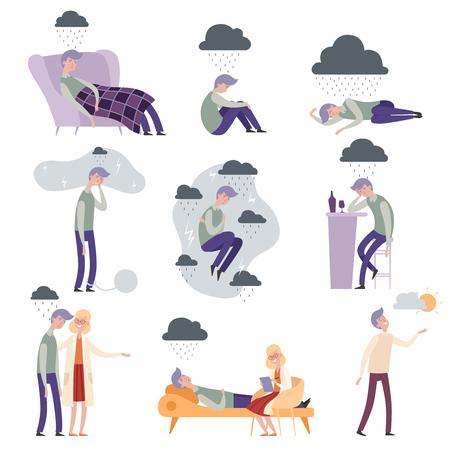 Personajes de psicólogo. Personas deprimidas infelices solo y frustrado médico terapeuta ilustraciones vectoriales. Terapeuta y paciente con problemas mentales, terapia del médico.