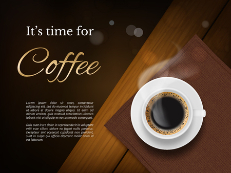 Coffee time poster. Advertizing placard with brown coffee cup and place for text vector picture. Illustration cup of coffee, poster for cafe Stock Vector - 124771463