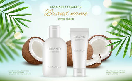 Coconut cosmetic. Advertizing poster with cream tubes and fresh coco and natural body milk splashes vector realistic. Illustration of lotion plant coconut, care spa cream