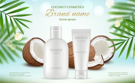 Kokos kosmetik. Werbeplakat mit Sahnetuben und frischem Kokos und natürlichen Körpermilchspritzern vektorrealistisch. Illustration der Lotionspflanze Kokosnuss, Pflegebadecreme Vektorgrafik