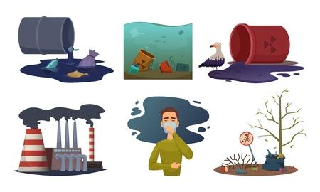 Nature pollution. Environment exhaust car contamination waste air toxic vector concept illustrations. Illustration of pollution toxic in air, contamination environmental