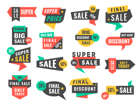 Sale badges. Advertising promo labels offers and big discount vector pictures set. Illustration of special advertising, promotion label for sale