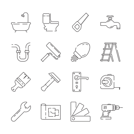 Repair icon. Support service building construction tools fast supplies vector linear items. Building renovation, drill equipment, hammer and ladder illustration Foto de archivo - 124771468