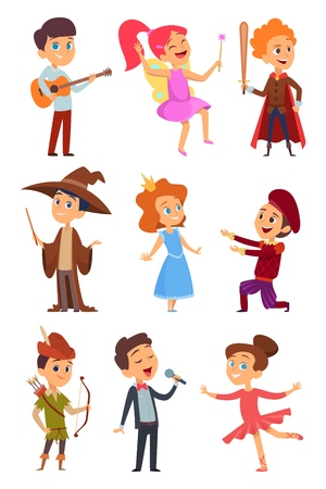 Kid actors. Theater performance of funny childrens boys and girls in costume standing at school stage vector characters cartoon. Child and kid theater, young performance in childhood illustration 일러스트