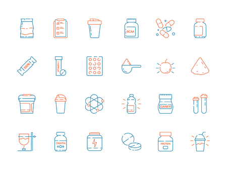 Sport supplement food. Fitness nutrition pills protein shake and bottles vector thin colored icons. Sport whey and protein for bodybuilding, supplement to muscle illustration Illustration
