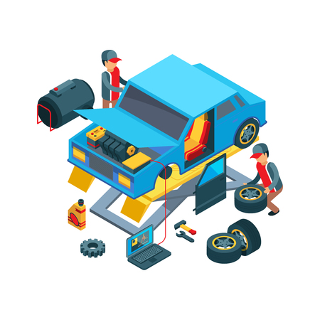 Change car wheels. Technicians working in auto service mechanical work fixing car details vector picture. Auto mechanic, repair car and technician service illustration