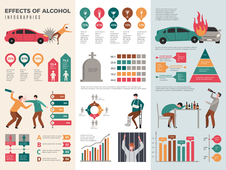 Alcoholism infographics. Dangerous drunk driver alcoholic health vector template with graphics and charts. Effect of alcohol infographic, driver acciden illustration Illustration