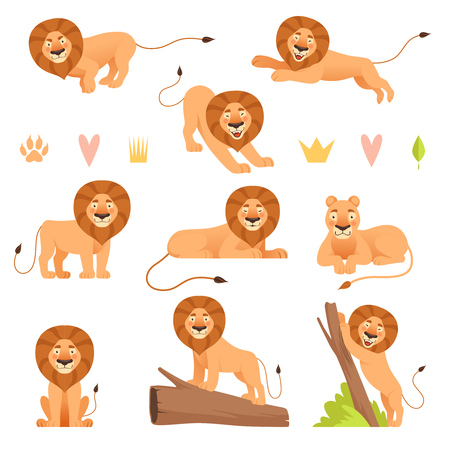 Lion cartoon. Wild running yellow fur animal king hunter safari cute lions pride vector characters collection. Safari mammal lion, mascot leo, carnivore predator illustration