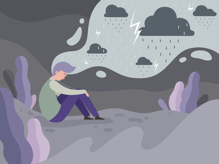 Depressed people. Loneliness alone in the city tired man rainy weather vector concept background. Illustration of man mental, tired and depression, stress frustrated Иллюстрация