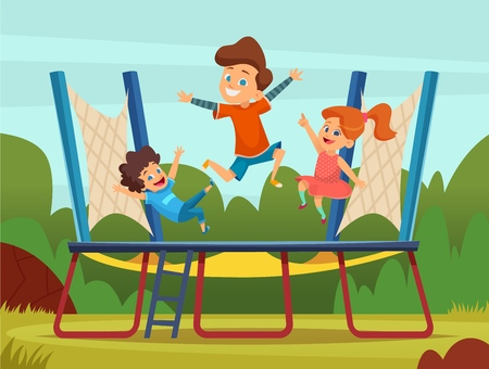 Jumping trampoline kids. Active children games on playground vector cartoon background. Trampoline game, boy and girl bounce