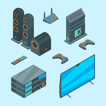 Home entertainment. Isometric console for games tv laptop audio speakers theatre computer vector pictures. Tv audio home, video system for television illustration