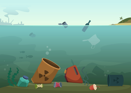 Water waste. Nature pollution plastic bottles in ocean debris dirty animals trash save nature vector concept background. Rubbish and waste in ocean, sea trash plastic, pollution in marine illustration Ilustração