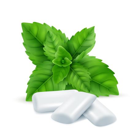 Gomme à la menthe. Feuilles de menthol frais avec des bonbons à la gomme blanche pour respirer des images réalistes vectorielles d'odeur fraîche. Illustration de l'effet menthe poivrée, tampon de gomme à mâcher