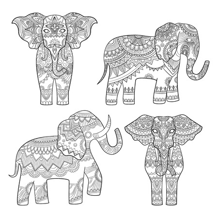 Elephant decorative pattern. Indian motif tribal royal design for adults colored pages vector illustrations. Elephant indian, tribal pattern, totem animal tattoo Illustration