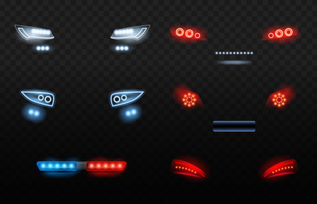 Automobile led light. Red and white car headlights in night police car vector realistic lights. Auto headlight, light glow automobile illustration