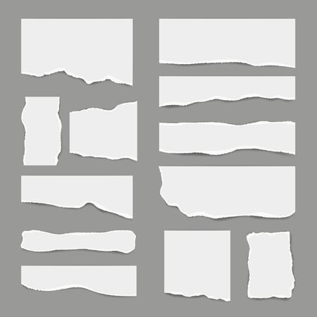 Ripped white paper. Torn light scrap note paper for notes pieces vector realistic pictures for banners. Illustration of torn paper, ripped page Çizim