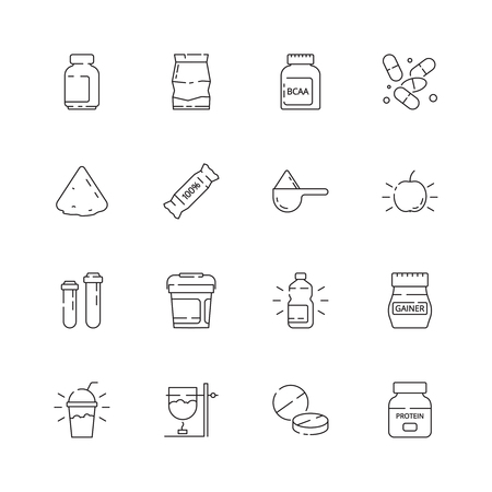 Sport nutrition icon. Vitamine active supplement food fitness industry pills whey protein health vector thin line symbols. Protein for sport, energy nutrition illustration