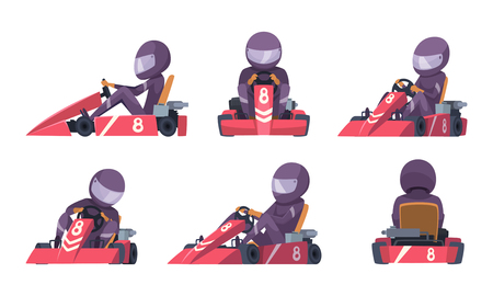 Karting car. Street speed racers competition sport automobile go kart vector background cartoon. Illustration of speed car, race drive, sport kart racer Çizim