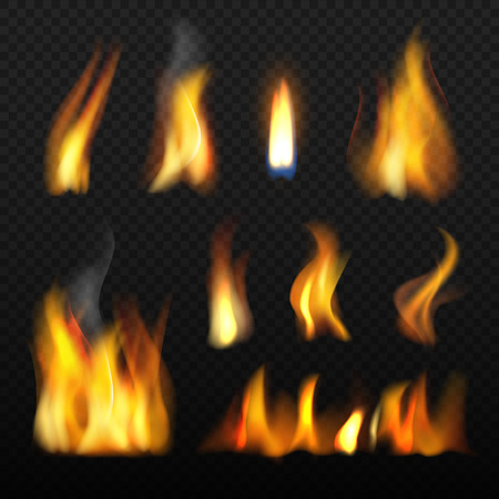 Fire realistic. Red orange tongue of flame blazing 3d vector collection on transparent background. Illustration of light heat, hot and blaze burn