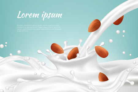 Nuts in milk. Meal beverages nut cream vegan protein drink splashes with seed vector realistic background. Illustration of nuts beverage, milk drink healthy