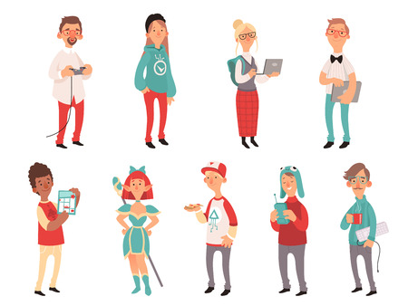 Young nerds. Smart teen geeks boys and girls teenagers technology lovers vector characters. Illustration of nerd and geek, girl teen and boy Иллюстрация