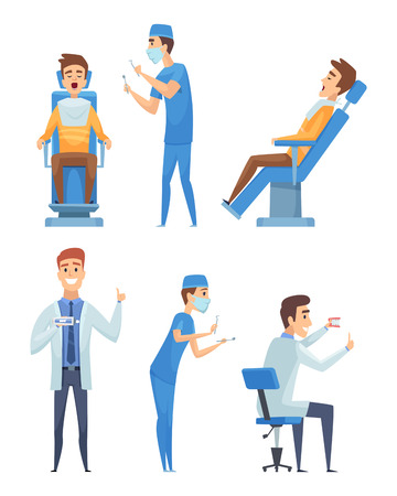 Dentists characters. Stomatology medicine mouth diagnostic healthcare vector cartoon illustration. Dentist healthcare character, doctor specialist and patient