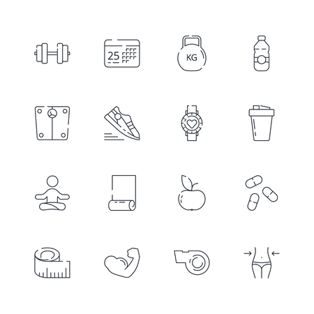 Sport icons. Fitness athlete nutrition aerobics fit coaching healthy food vector thin line symbols. Fit and sport, kettlebell and nutrition illustration