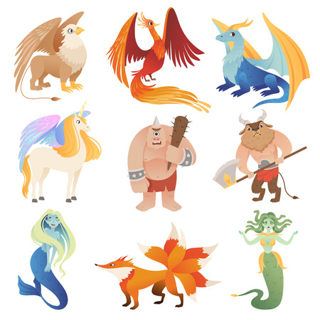 Fantastic creatures. Phoenix dragon hybrid animals flying lion minotaur centaur vector cartoon pictures. Illustration of monster and mermaid, unicorn and medusa, phoenix and minotaur