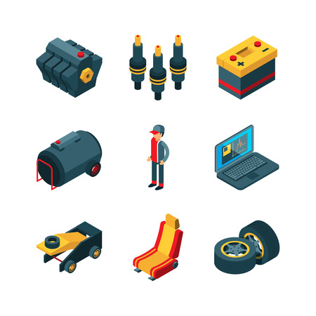 Car parts. Auto shop automobile items transmission engine gears wheel vector isometric. Illustration of auto shop, repair vehicle, maintenance car Иллюстрация