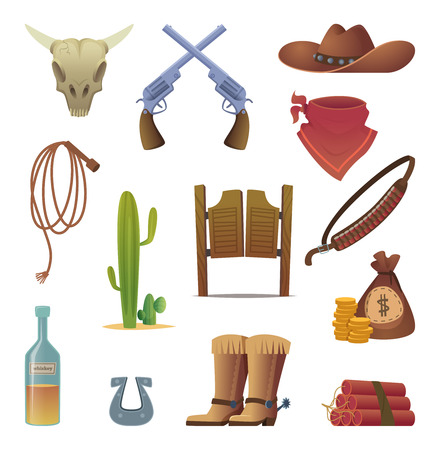 Wild west icon. Cowboys country western symbols saloon boots rodeo lasso vector cartoon collection. Illutsration of wild west, gun and hat, horseshoe and lasso