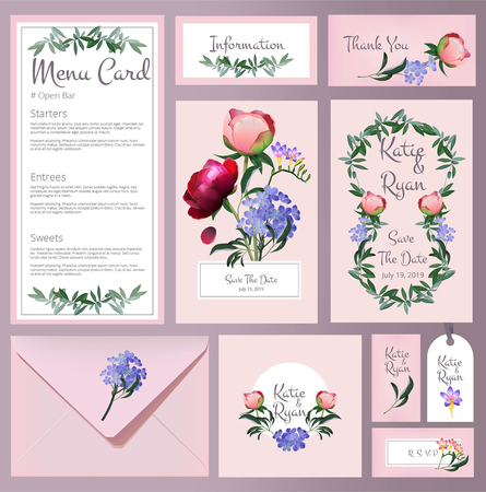 Wedding cards. Floral cards invitation wedding vintage backgrounds botanical frames vector template. Illustration of menu and wedding card, save the date and invitation
