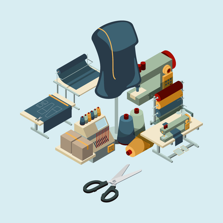 Textile industry. Sewing manufactory tools concept of embroidery production vector composition. Illustration of manufactory equipment isometric, machine production and tailoring