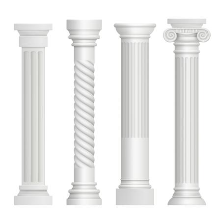 Antique column. Historical greek pillars ancient building architecture art sculpture vector realistic pictures. Illustration of pedestal greece, antique stable and pillar