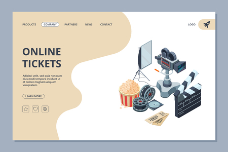 Cinema landing. Web page template videography studio equipment cinema production tv show entertainment vector design. Illustration of cinema film, online ticket banner