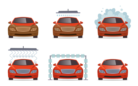 Car wash. Transport automobile water wash service vector collection set. Illustration of automobile car service, auto wash