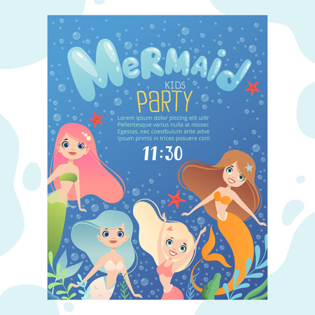 Mermaid party invitation. Design template invite kids birthday cards with funny underwater characters fish and young mermaid princess. Mermaid girl with seaweed aquatic illustration