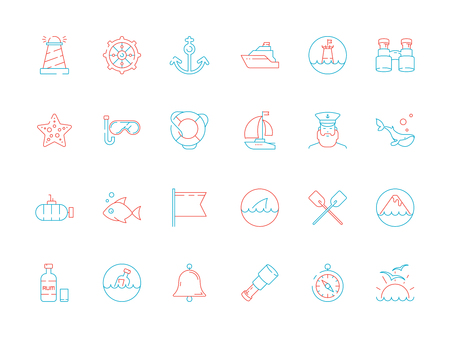 Marine icon collection. Nautical sea or ocean symbols fish boat map navy yacht captain cap vector colored pictures. Illustration of anchor and yacht, submarine and bell, transport vessel