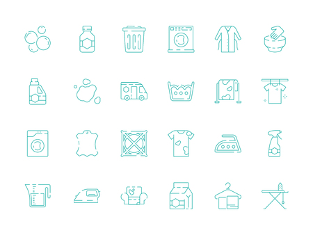 Laundry icon. Dry cleaning washing machine in laundromat steam garments vector symbols collection. Washing equipment, cleaning machine for clothes illustration