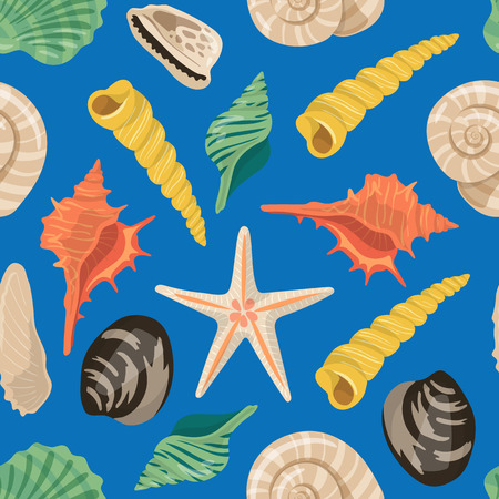 Vector cartoon sea shells pattern or background illustration. Shell pattern, marine life, concha spiral