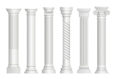 Antique pillars. Greek historical rome classic columns vector realistic illustrations. Greece antique stable, ancient architecture pillar column