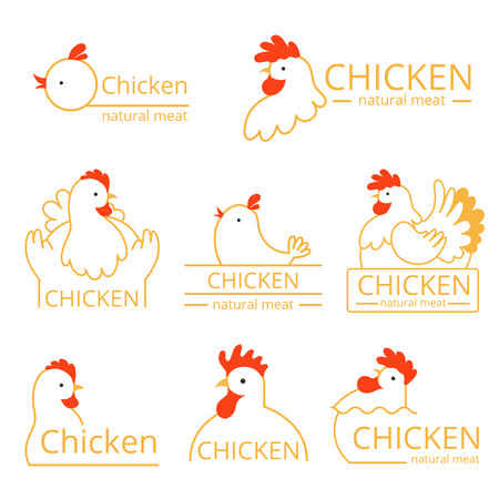 Pollo logo. Design template of identity pictures with farm birds chickens and roosters vector food logotype. Farm chicken, natural meat logotype illustration