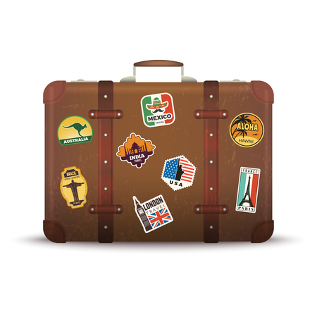 Suitcase stickers. Old retro luggage with travel badges vintage antique package vector picture. Suitcase with travel badge sticker, travel vacation label illustration