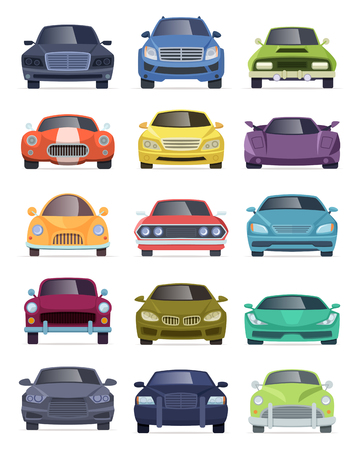 Vehicles front view. Transport automobiles taxi bus truck cartoon cars vector collection. Car vehicle front view, automobile model illustration Vector Illustration