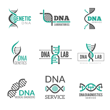 Dna logo. Genetic science symbols helix biotech vector business identity. Research medical biotech, molecule and dna logo illustration Logo