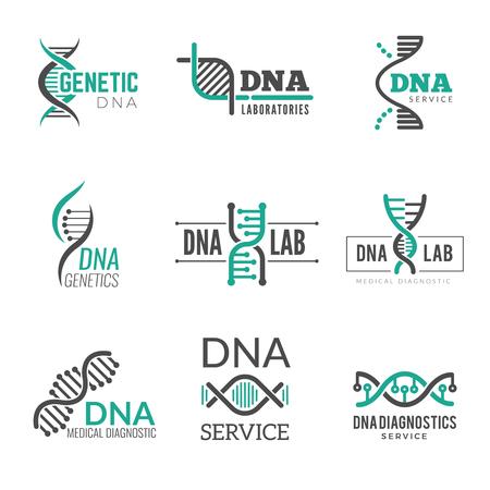 Logotipo de adn. Símbolos de ciencia genética helix biotecnología vector identidad empresarial. Investigación de biotecnología médica, molécula y logotipo de adn ilustración Logos