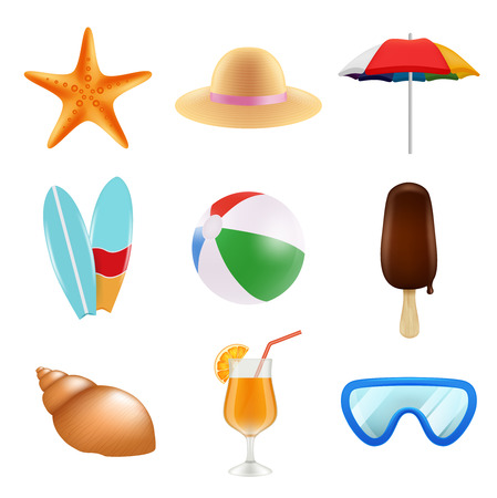 Summer odjects isolate. Realistic icons of summer time. Summer travel, ball and ice cream illustration